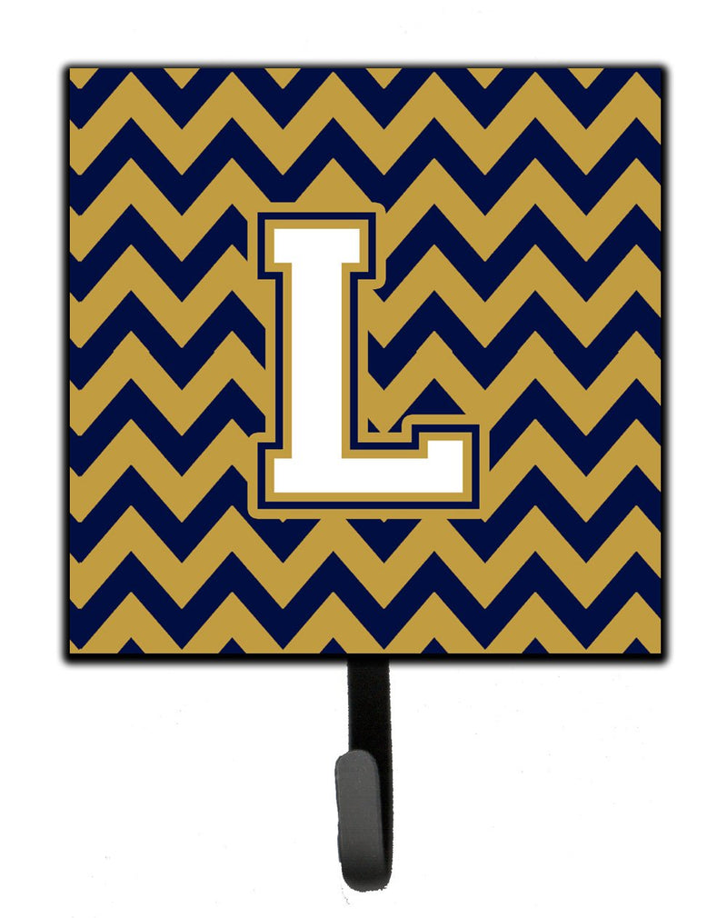 Letter L Chevron Navy Blue and Gold Leash or Key Holder by Caroline's Treasures
