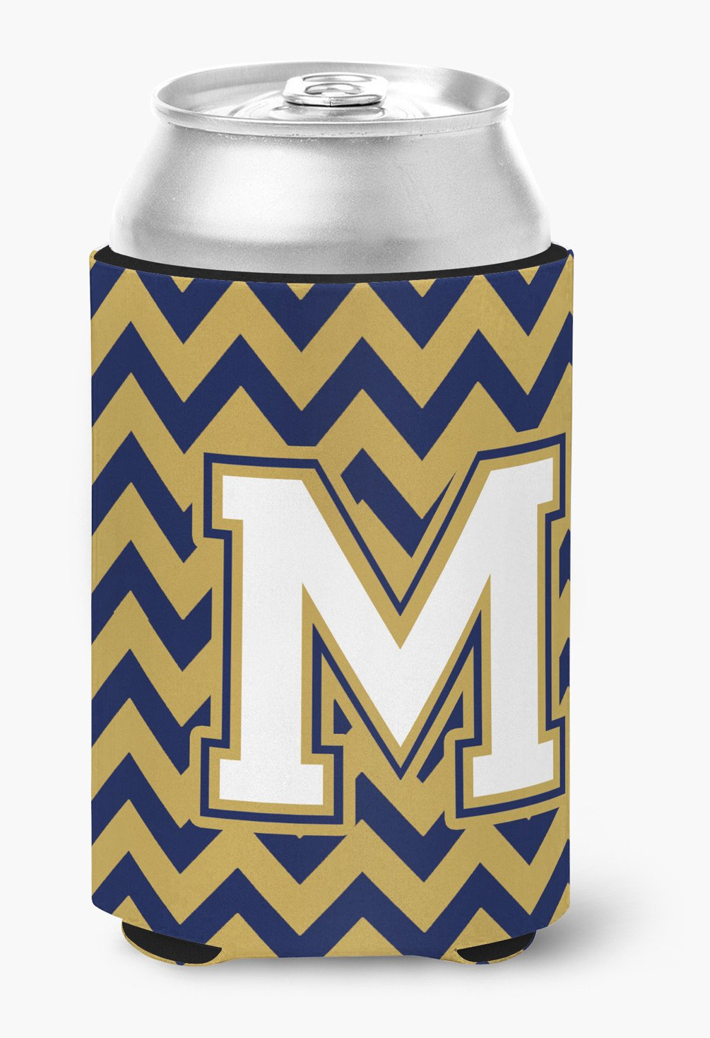 Letter M Chevron Navy Blue and Gold Can or Bottle Hugger CJ1057-MCC by Caroline's Treasures