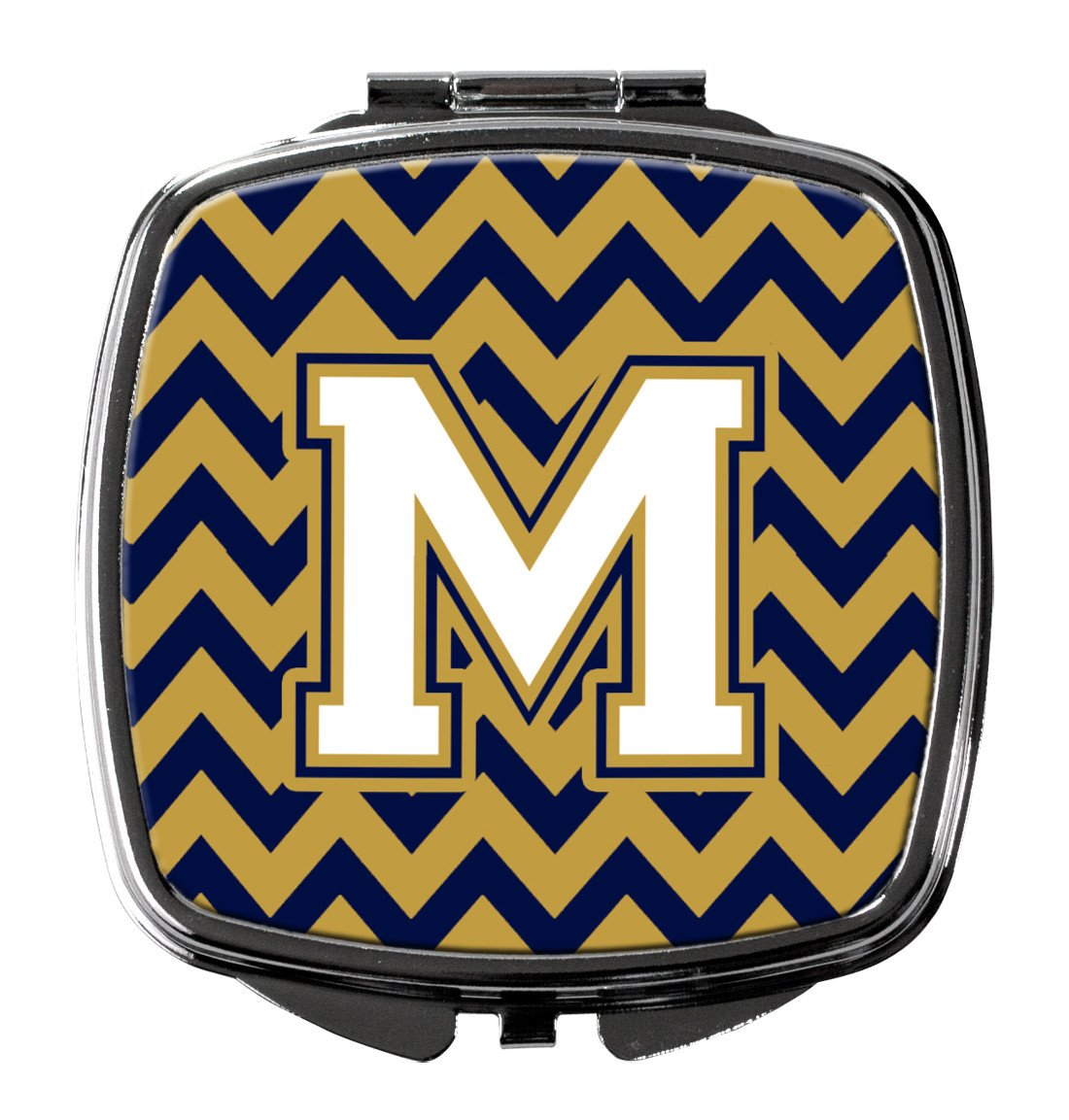Letter M Chevron Navy Blue and Gold Compact Mirror CJ1057-MSCM by Caroline's Treasures