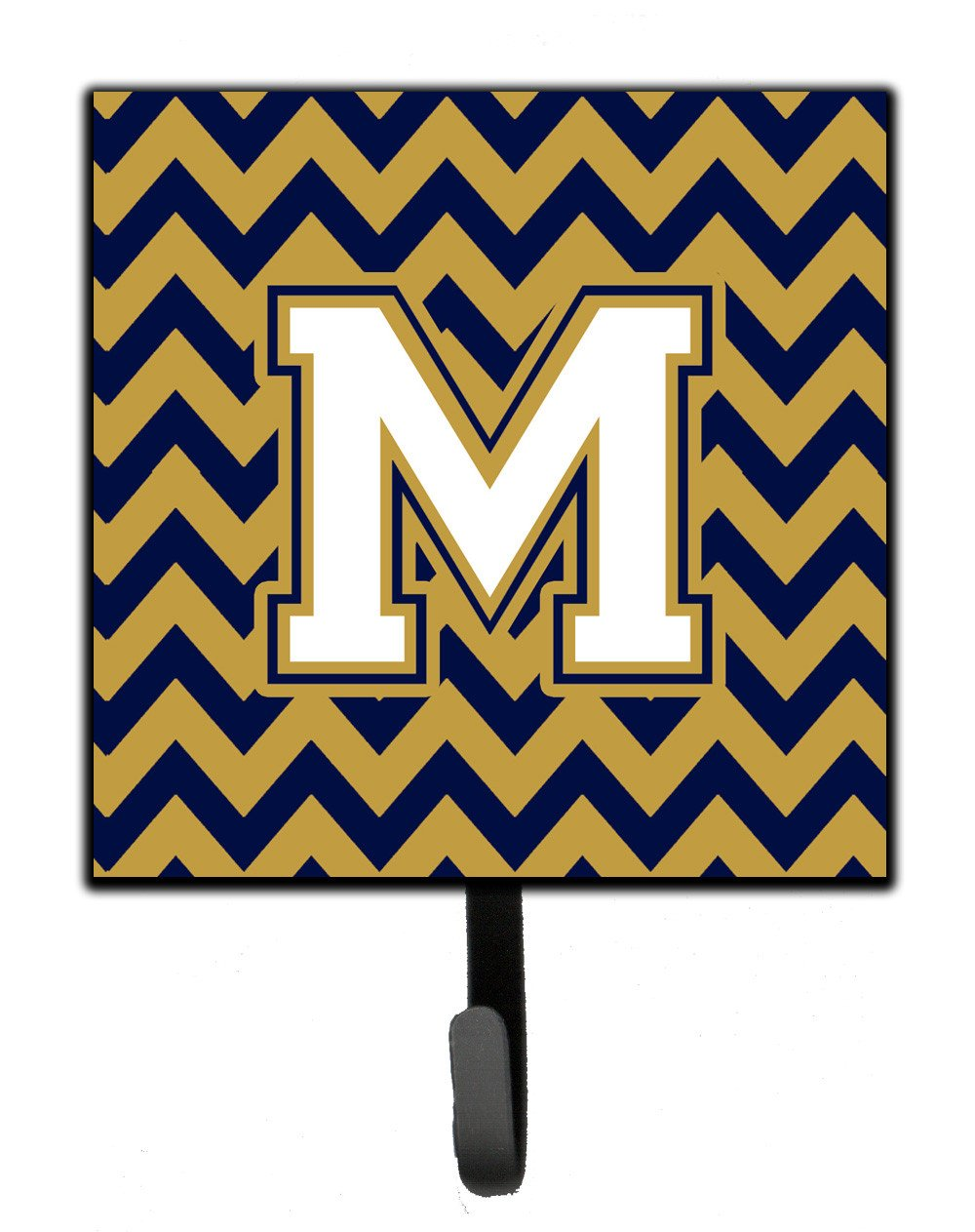 Letter M Chevron Navy Blue and Gold Leash or Key Holder CJ1057-MSH4 by Caroline's Treasures