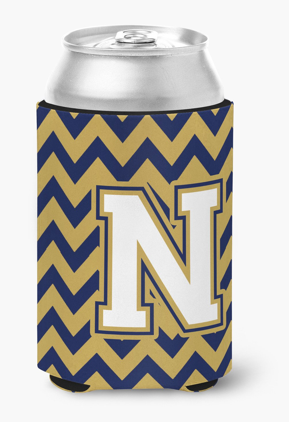 Letter N Chevron Navy Blue and Gold Can or Bottle Hugger CJ1057-NCC by Caroline's Treasures