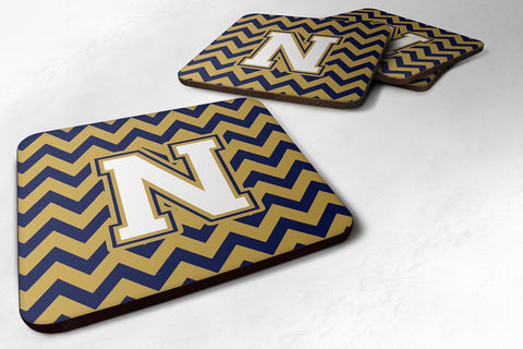 Buy this Letter N Chevron Navy Blue and Gold Foam Coaster Set of 4 CJ1057-NFC