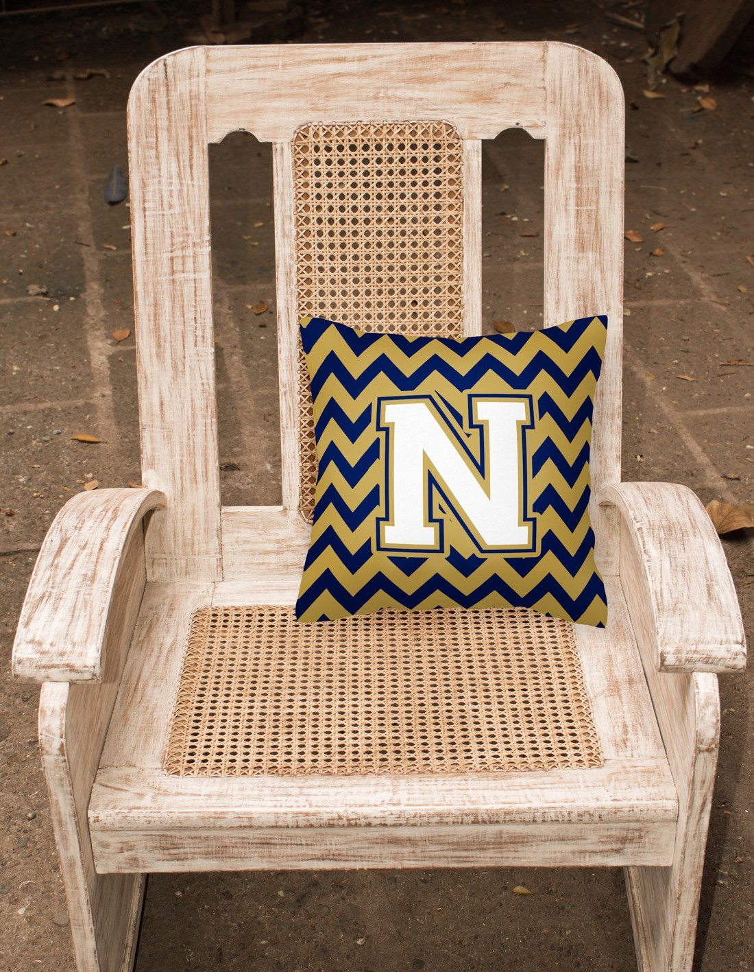 Letter N Chevron Navy Blue and Gold Fabric Decorative Pillow CJ1057-NPW1414 by Caroline's Treasures