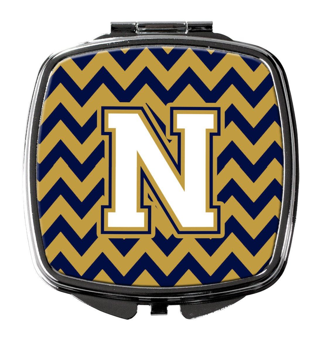 Letter N Chevron Navy Blue and Gold Compact Mirror CJ1057-NSCM by Caroline's Treasures