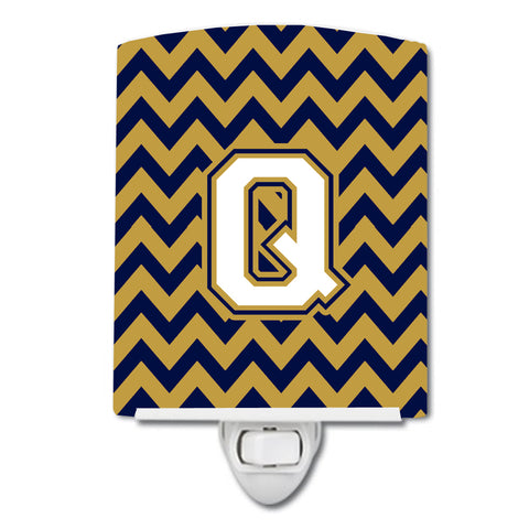 Buy this Letter Q Chevron Navy Blue and Gold Ceramic Night Light CJ1057-QCNL