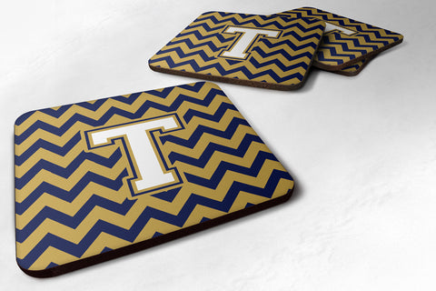 Buy this Letter T Chevron Navy Blue and Gold Foam Coaster Set of 4 CJ1057-TFC