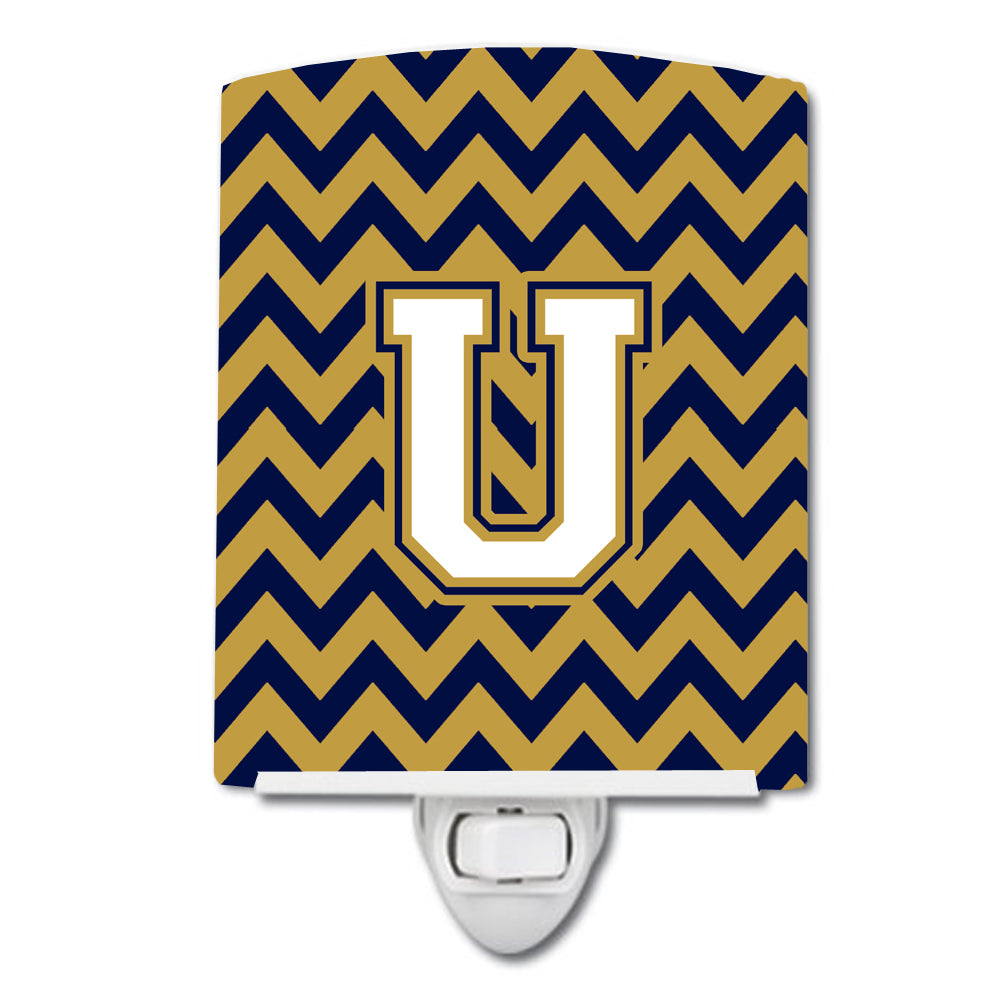 Buy this Letter U Chevron Navy Blue and Gold Ceramic Night Light CJ1057-UCNL