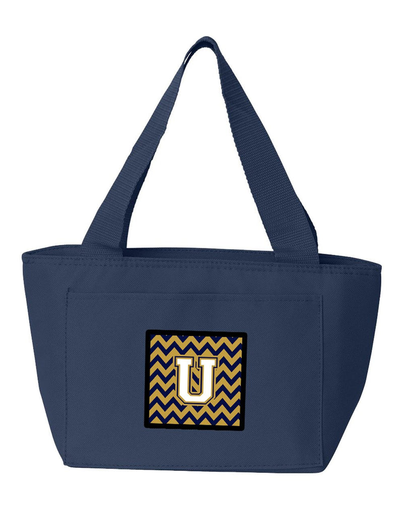 Buy this Letter U Chevron Navy Blue and Gold Lunch Bag CJ1057-UNA-8808