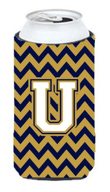 Letter U Chevron Navy Blue and Gold Tall Boy Beverage Insulator Hugger CJ1057-UTBC by Caroline's Treasures