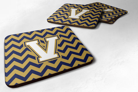 Buy this Letter V Chevron Navy Blue and Gold Foam Coaster Set of 4 CJ1057-VFC