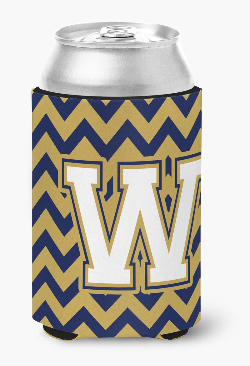 Buy this Letter W Chevron Navy Blue and Gold Can or Bottle Hugger CJ1057-WCC