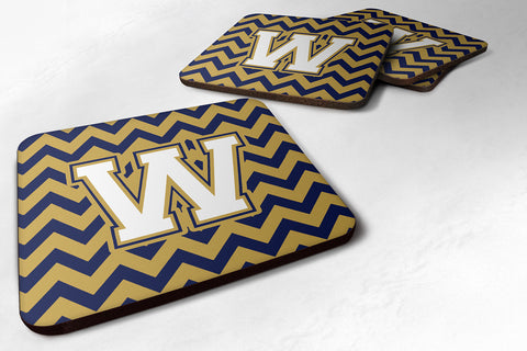 Buy this Letter W Chevron Navy Blue and Gold Foam Coaster Set of 4 CJ1057-WFC