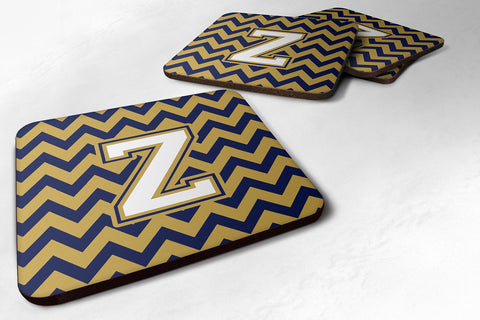 Buy this Letter Z Chevron Navy Blue and Gold Foam Coaster Set of 4 CJ1057-ZFC