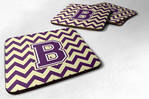 Buy this Letter B Chevron Purple and Gold Foam Coaster Set of 4 CJ1058-BFC