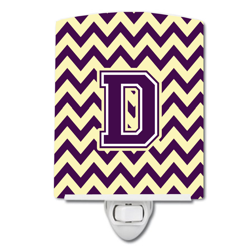 Letter D Chevron Purple and Gold Ceramic Night Light CJ1058-DCNL by Caroline's Treasures
