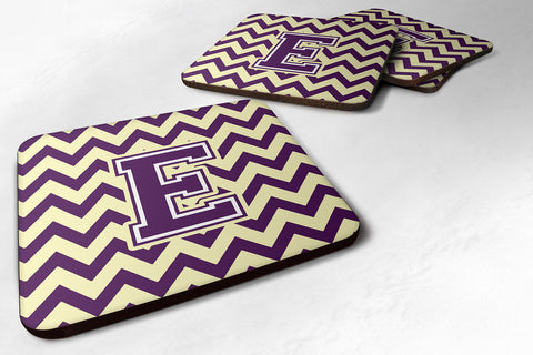 Buy this Letter E Chevron Purple and Gold Foam Coaster Set of 4 CJ1058-EFC