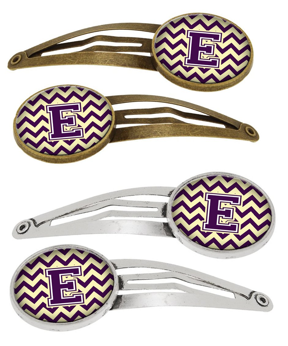Buy this Letter E Chevron Purple and Gold Set of 4 Barrettes Hair Clips CJ1058-EHCS4