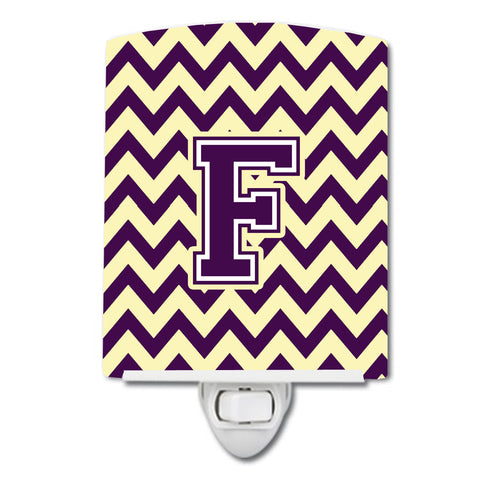 Buy this Letter F Chevron Purple and Gold Ceramic Night Light CJ1058-FCNL