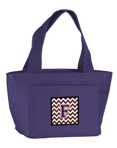 Buy this Letter F Chevron Purple and Gold Lunch Bag CJ1058-FPR-8808