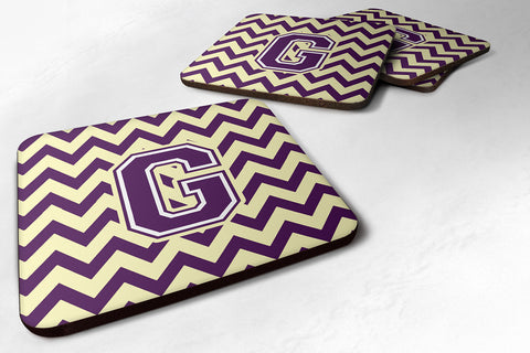 Buy this Letter G Chevron Purple and Gold Foam Coaster Set of 4 CJ1058-GFC