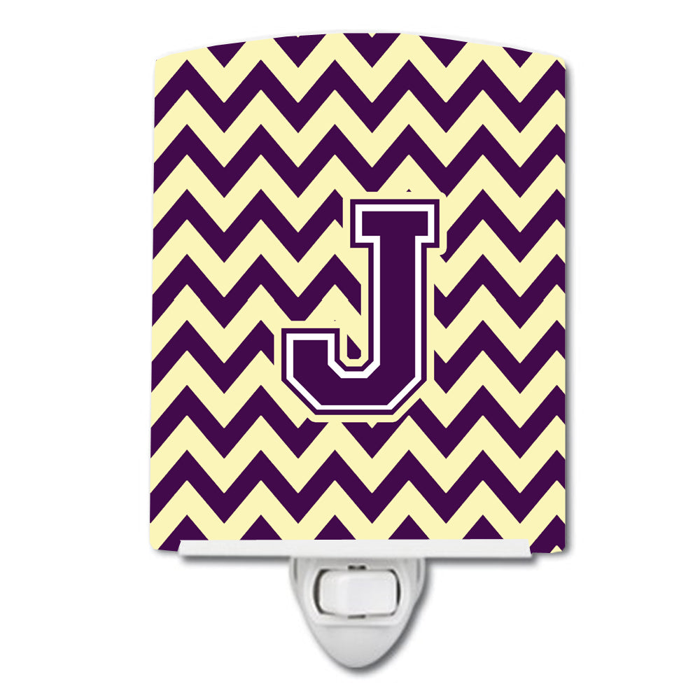 Letter J Chevron Purple and Gold Ceramic Night Light CJ1058-JCNL by Caroline's Treasures