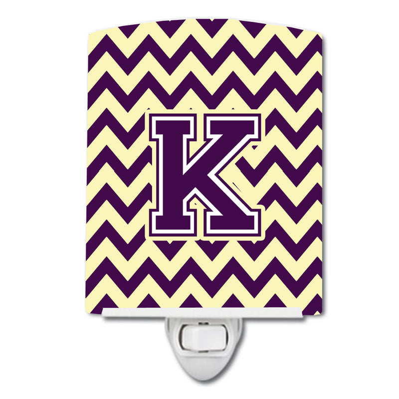 Buy this Letter K Chevron Purple and Gold Ceramic Night Light CJ1058-KCNL
