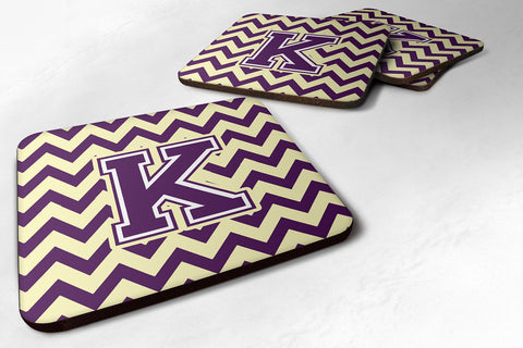 Buy this Letter K Chevron Purple and Gold Foam Coaster Set of 4 CJ1058-KFC