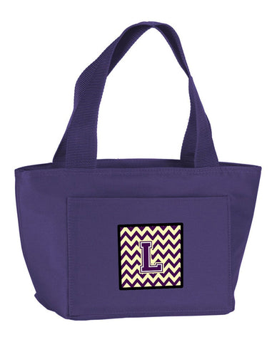 Buy this Letter L Chevron Purple and Gold Lunch Bag CJ1058-LPR-8808