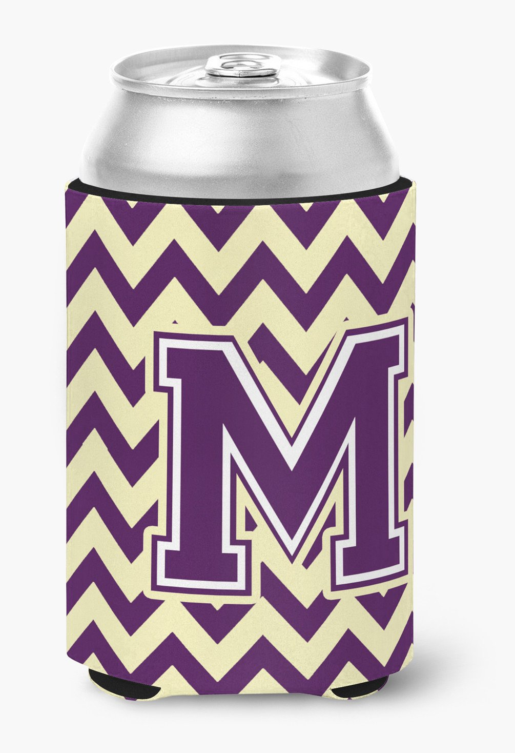 Letter M Chevron Purple and Gold Can or Bottle Hugger CJ1058-MCC by Caroline's Treasures
