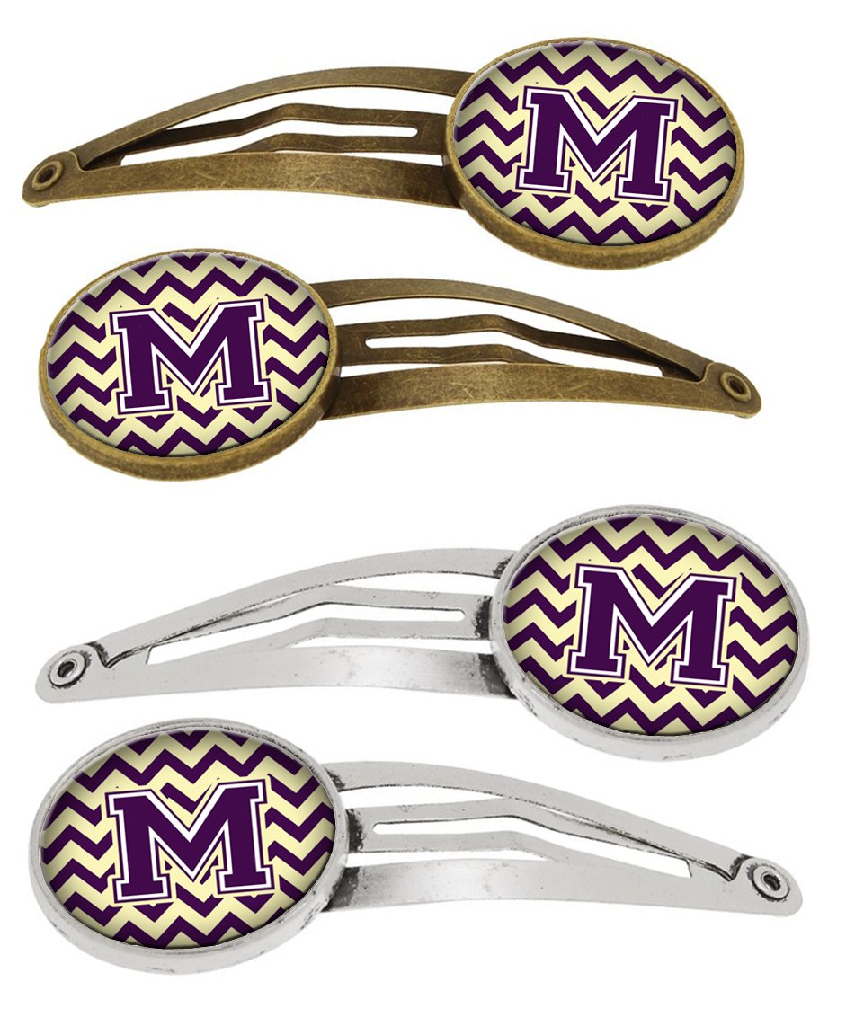 Buy this Letter M Chevron Purple and Gold Set of 4 Barrettes Hair Clips CJ1058-MHCS4