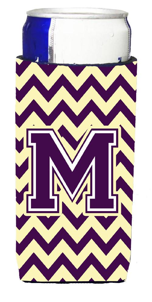 Letter M Chevron Purple and Gold Ultra Beverage Insulators for slim cans CJ1058-MMUK by Caroline's Treasures