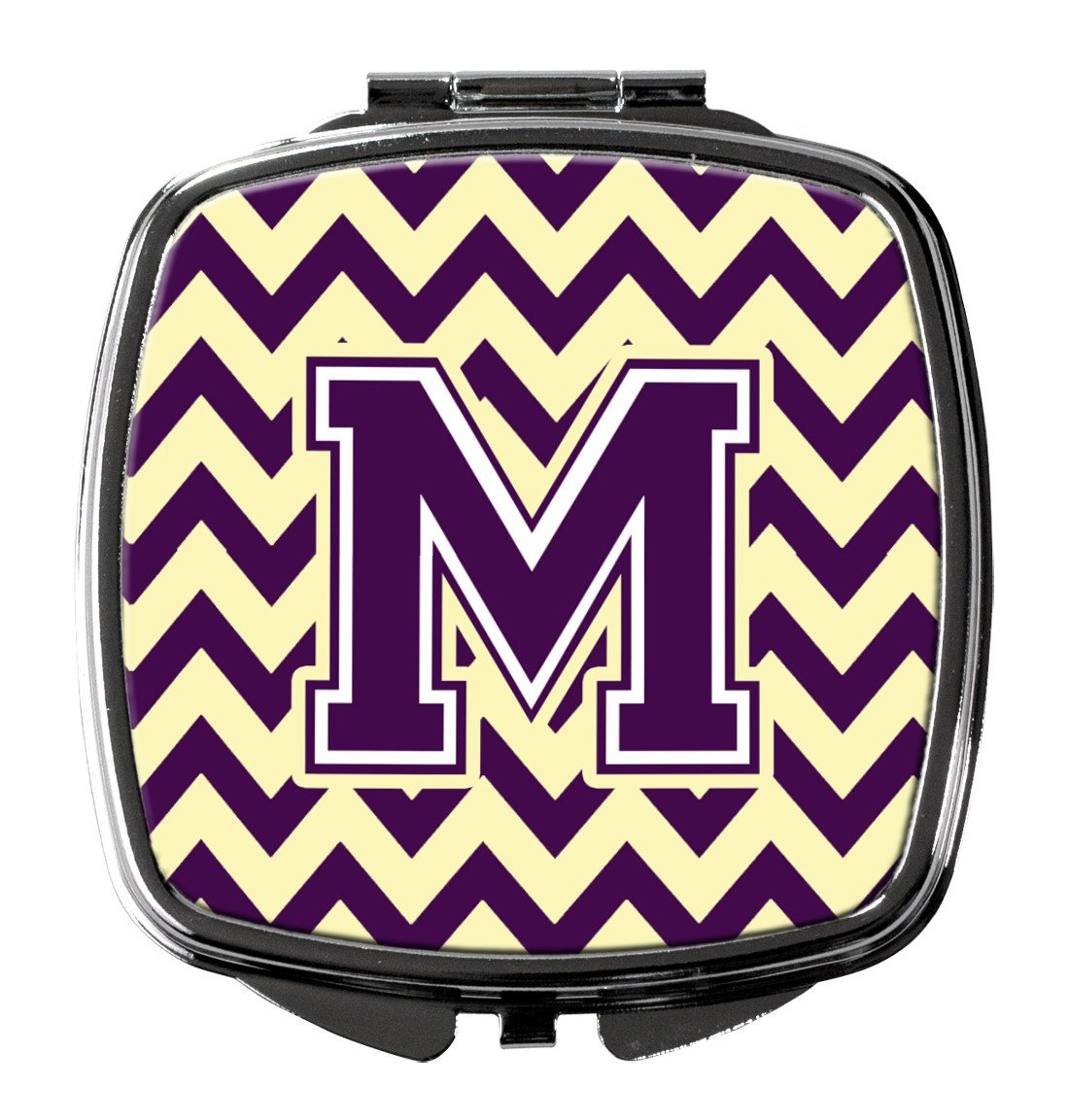 Letter M Chevron Purple and Gold Compact Mirror CJ1058-MSCM by Caroline's Treasures