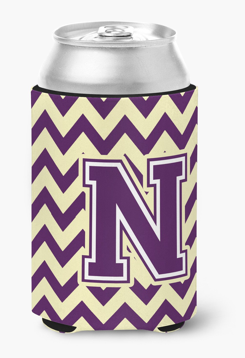 Letter N Chevron Purple and Gold Can or Bottle Hugger CJ1058-NCC by Caroline's Treasures