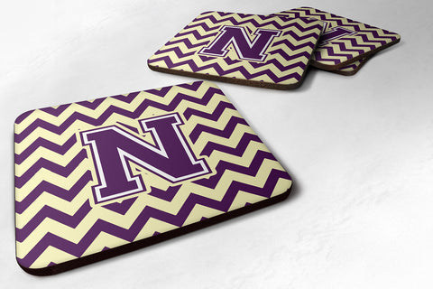 Buy this Letter N Chevron Purple and Gold Foam Coaster Set of 4 CJ1058-NFC