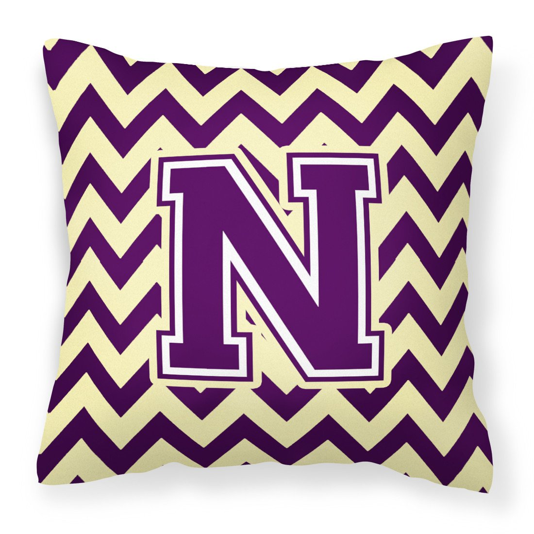 Letter N Chevron Purple and Gold Fabric Decorative Pillow CJ1058-NPW1414 by Caroline's Treasures