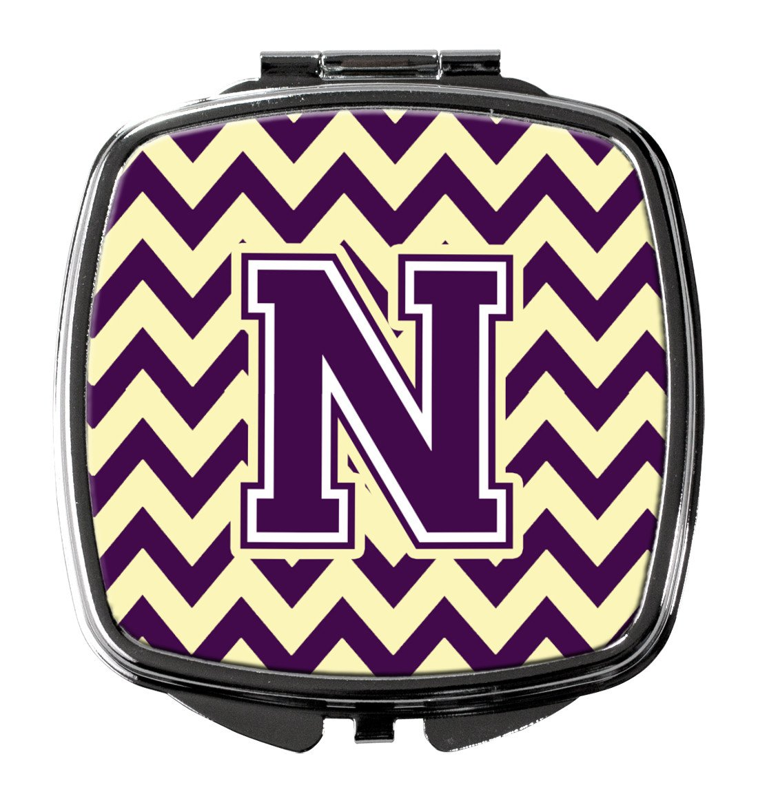 Letter N Chevron Purple and Gold Compact Mirror CJ1058-NSCM by Caroline's Treasures