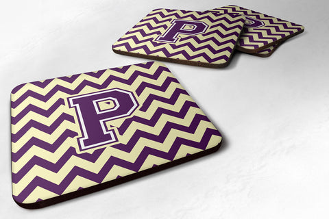Buy this Letter P Chevron Purple and Gold Foam Coaster Set of 4 CJ1058-PFC