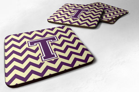 Buy this Letter T Chevron Purple and Gold Foam Coaster Set of 4 CJ1058-TFC
