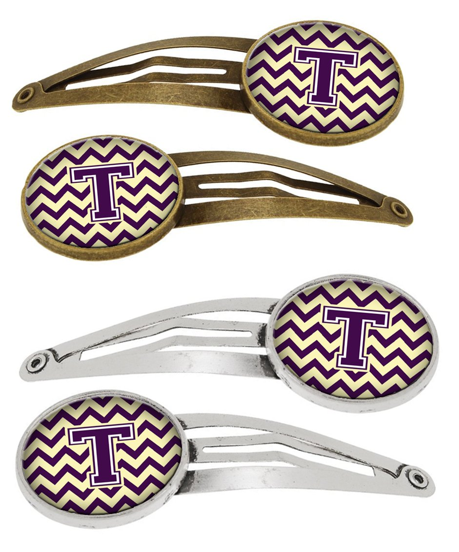Buy this Letter T Chevron Purple and Gold Set of 4 Barrettes Hair Clips CJ1058-THCS4