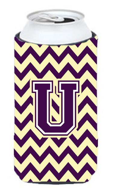 Buy this Letter U Chevron Purple and Gold Tall Boy Beverage Insulator Hugger CJ1058-UTBC
