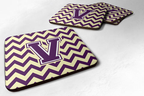 Buy this Letter V Chevron Purple and Gold Foam Coaster Set of 4 CJ1058-VFC