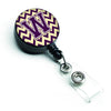 Letter W Chevron Purple and Gold Retractable Badge Reel CJ1058-WBR by Caroline's Treasures