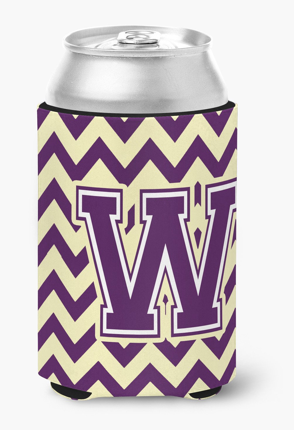 Buy this Letter W Chevron Purple and Gold Can or Bottle Hugger CJ1058-WCC