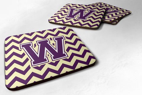 Buy this Letter W Chevron Purple and Gold Foam Coaster Set of 4 CJ1058-WFC
