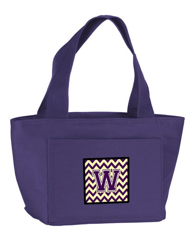 Buy this Letter W Chevron Purple and Gold Lunch Bag CJ1058-WPR-8808