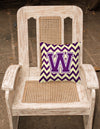 Letter W Chevron Purple and Gold Fabric Decorative Pillow CJ1058-WPW1414 by Caroline's Treasures