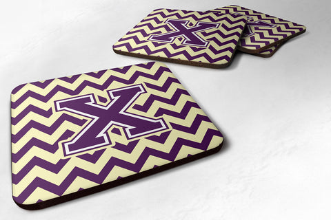 Buy this Letter X Chevron Purple and Gold Foam Coaster Set of 4 CJ1058-XFC