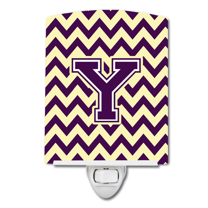 Buy this Letter Y Chevron Purple and Gold Ceramic Night Light CJ1058-YCNL