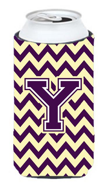 Letter Y Chevron Purple and Gold Tall Boy Beverage Insulator Hugger CJ1058-YTBC by Caroline's Treasures