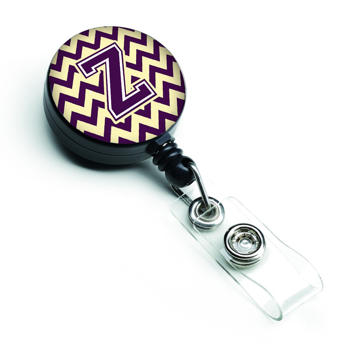 Letter Z Chevron Purple and Gold Retractable Badge Reel CJ1058-ZBR by Caroline's Treasures